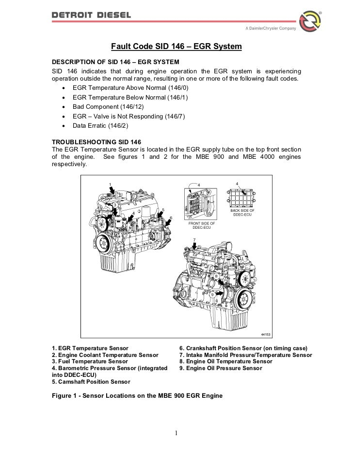 Fault Code SID 146 – EGR SystemDESCRIPTION OF SID 146 – EGR SYSTEMSID 146 indicates that during engine operation the EGR s...