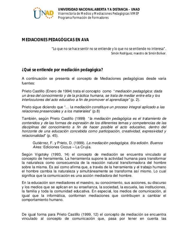 UNIVERSIDAD NACIONAL ABIERTA Y A DISTANCIA – UNAD Vicerrectoría de Medios y Mediaciones Pedagógicas VIMEP Programa Formaci...