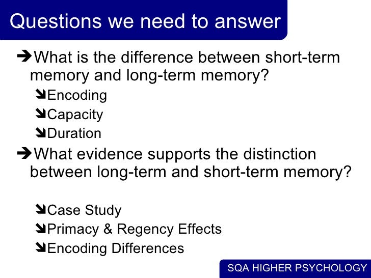 Psych question on long term memory?
