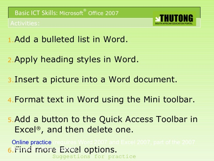 Bullets in Word 2007 a Bulleted List in Word