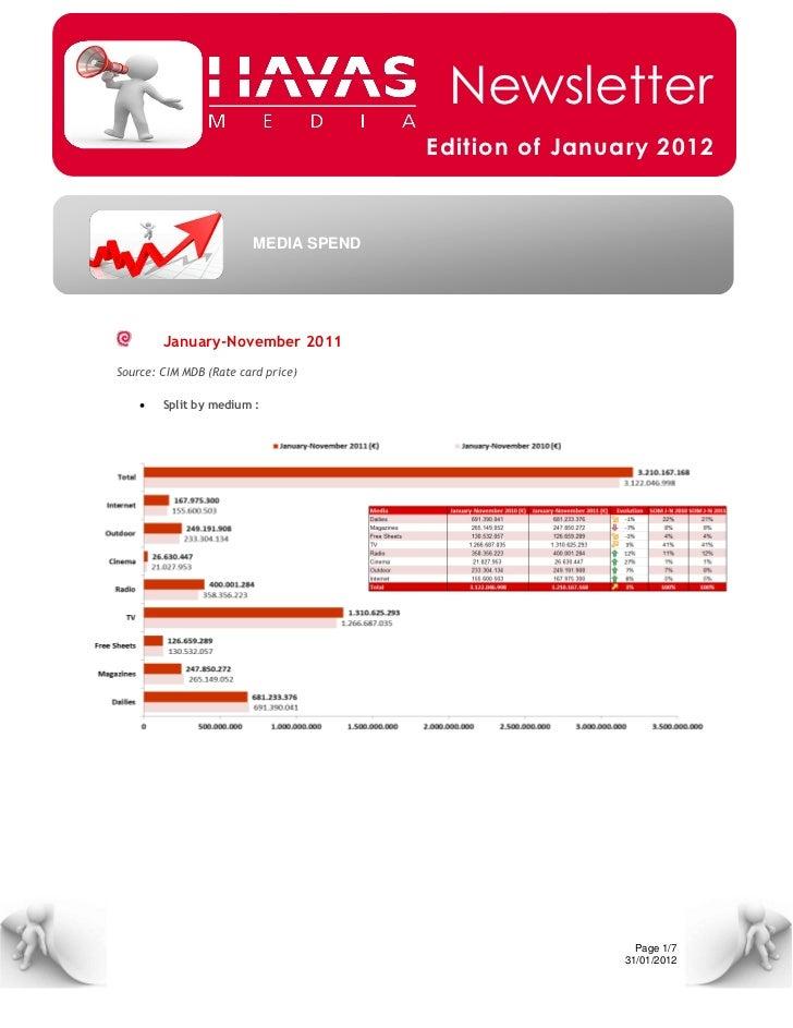 Newsletter                                       Edition of January 2012                         MEDIA SPEND        Januar...
