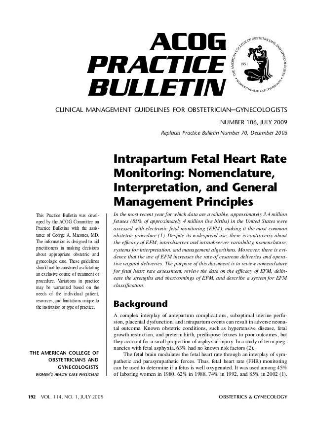 1. O -  Monitoria Fetal ACOG