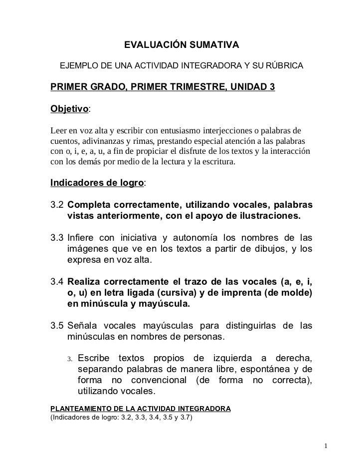 1. Objetivo E Indicadores De Logro A Evaluar