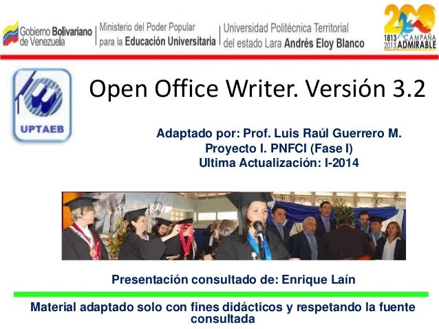 Proyecto I. Fase I. Tema 2. Open office-writer