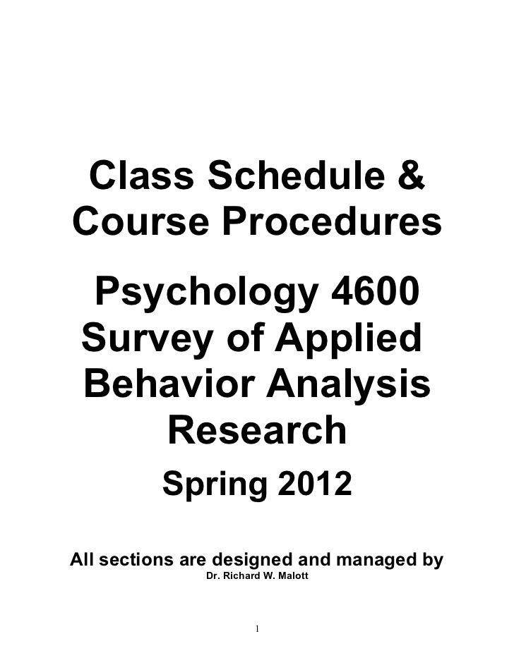 PSY 4600 Spring 2012 Course Procedures