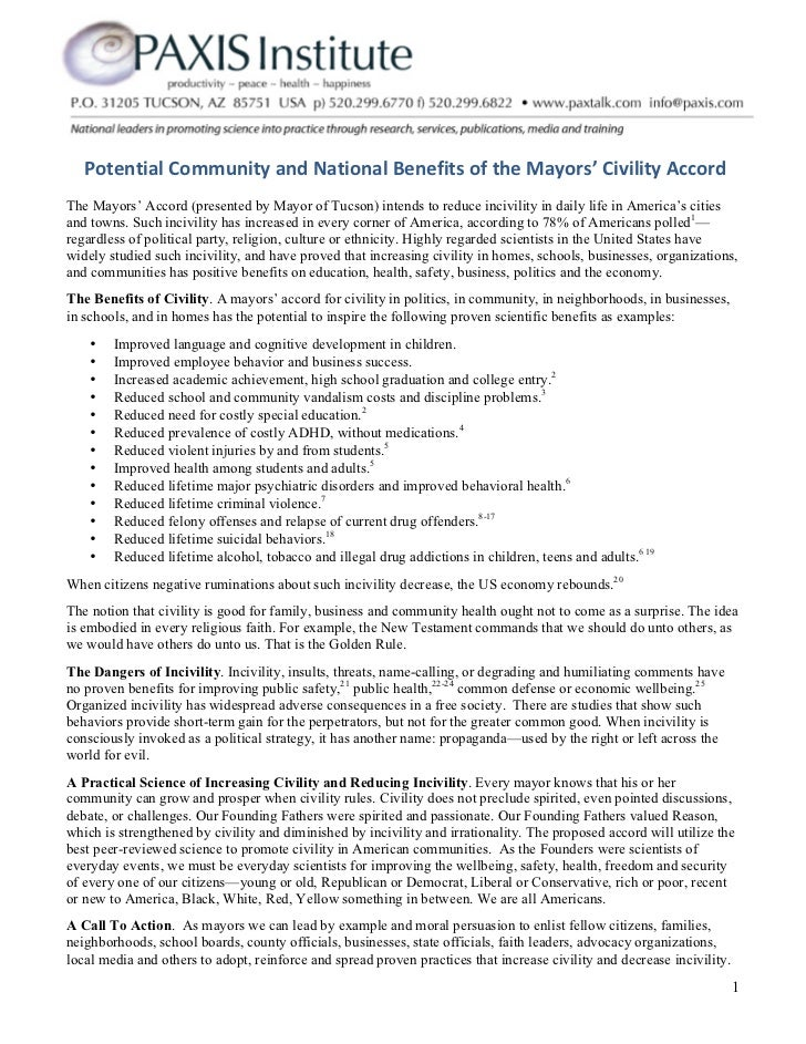 Potential Community and National Benefits of the Mayors' Civility Accord The Mayors' Accord (presente...