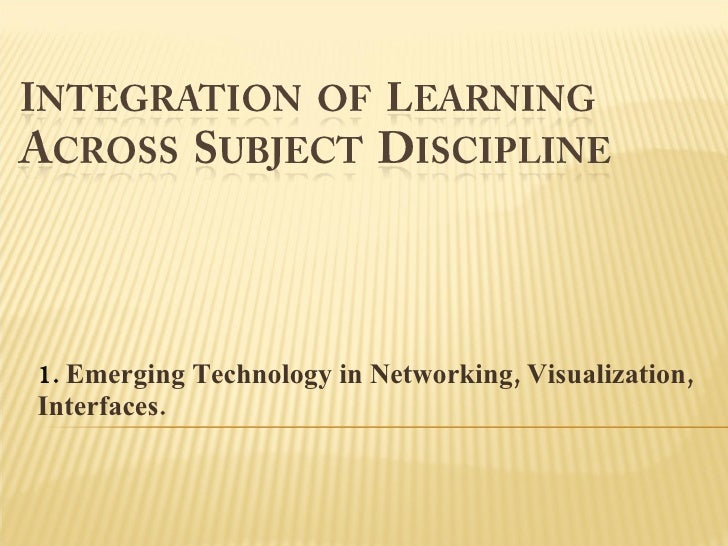 1. palma  integration of learning across subject discipline
