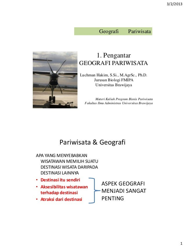 3/2/2013                              Geografi            Pariwisata                             1. Pengantar             ...