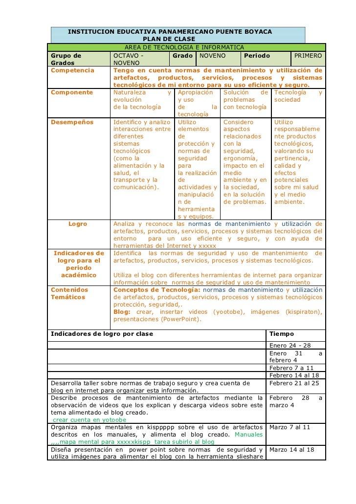 INSTITUCION EDUCATIVA PANAMERICANO PUENTE BOYACA                           PLAN DE CLASE                     AREA DE TECNO...