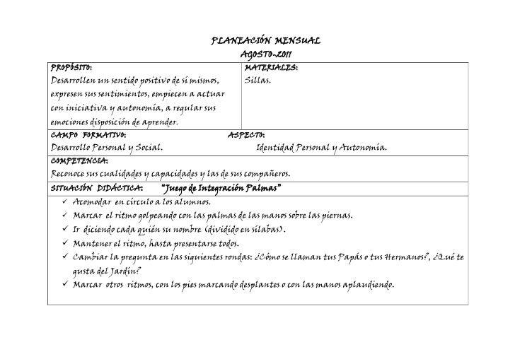 PLANEACIÓN MENSUAL AGOSTO-2011PROPÓSITO: