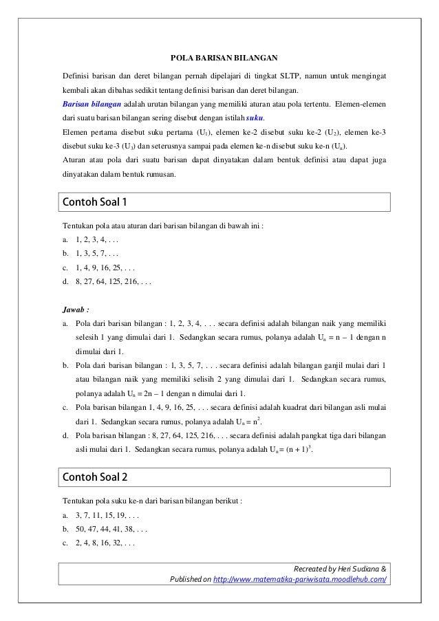 Recreated by Heri Sudiana &Published on http://www.matematika-pariwisata.moodlehub.com/POLA BARISAN BILANGANDefinisi baris...