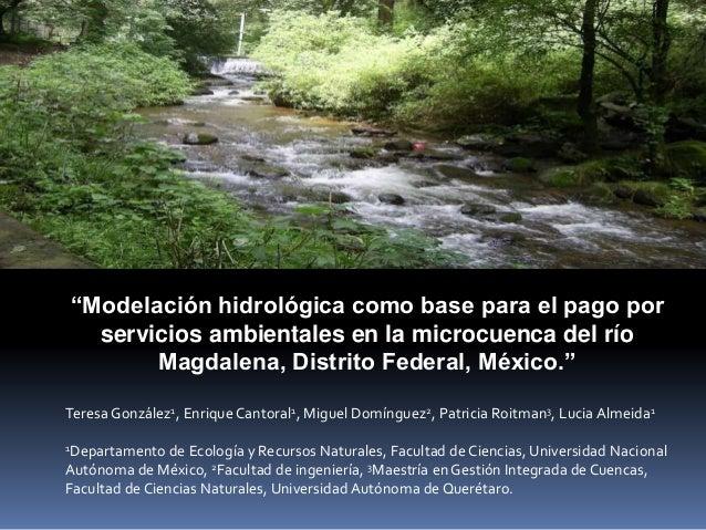 """""""Modelación hidrológica como base para el pago por servicios ambientales en la microcuenca del río Magdalena, Distrito Fed..."""