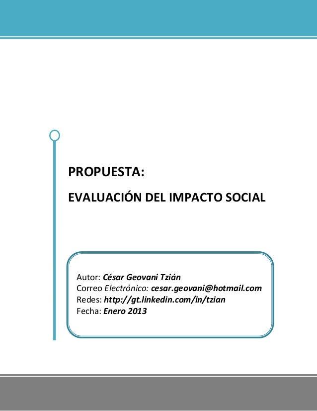 Propuesta de Evaluación del Impacto Social - Tzian 2013