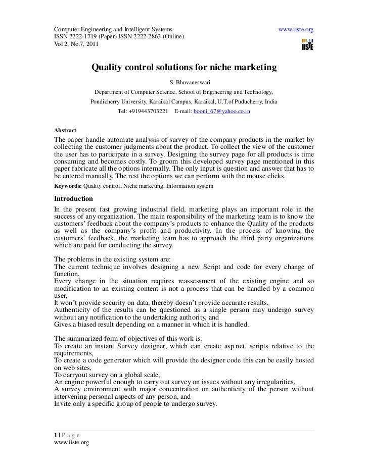1. quality control solutions for niche marketing   1-6