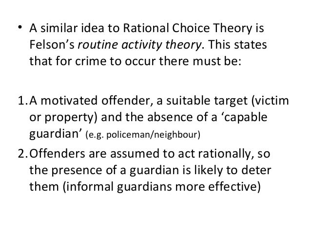 rational choice theory as a deterant Rational choice theory 2 empirical support for deterrence and rational choice theory deterrence and rational choice are simply theories about how we think.