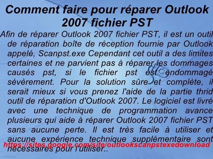 comment reparer outlook 2007