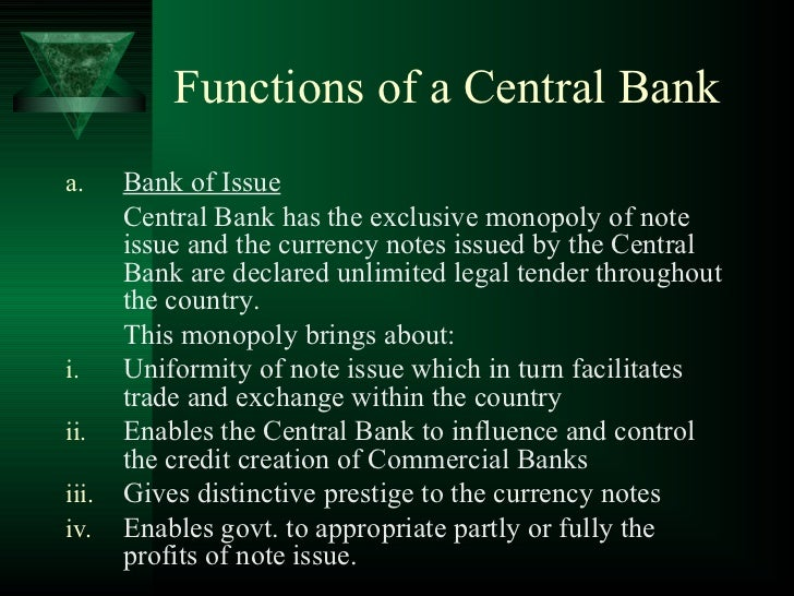 1 role of central bank 1 - Bank middle office functions ...