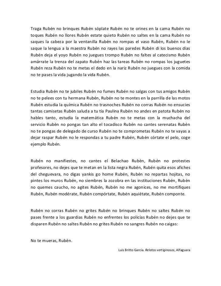 Traga Rubén no brinques Rubén sóplate Rubén no te orines en la cama Rubén notoques Rubén no llores Rubén estate quieto Rub...
