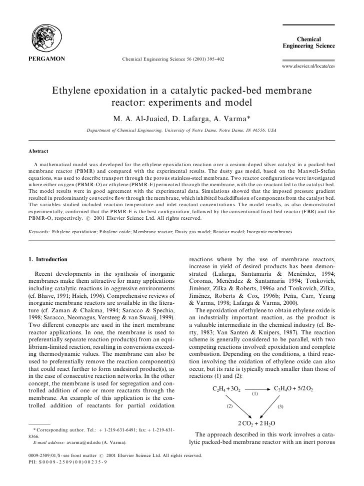 Chemical Engineering Science 56 (2001) 395}402            Ethylene epoxidation in a catalytic packed-bed membrane         ...