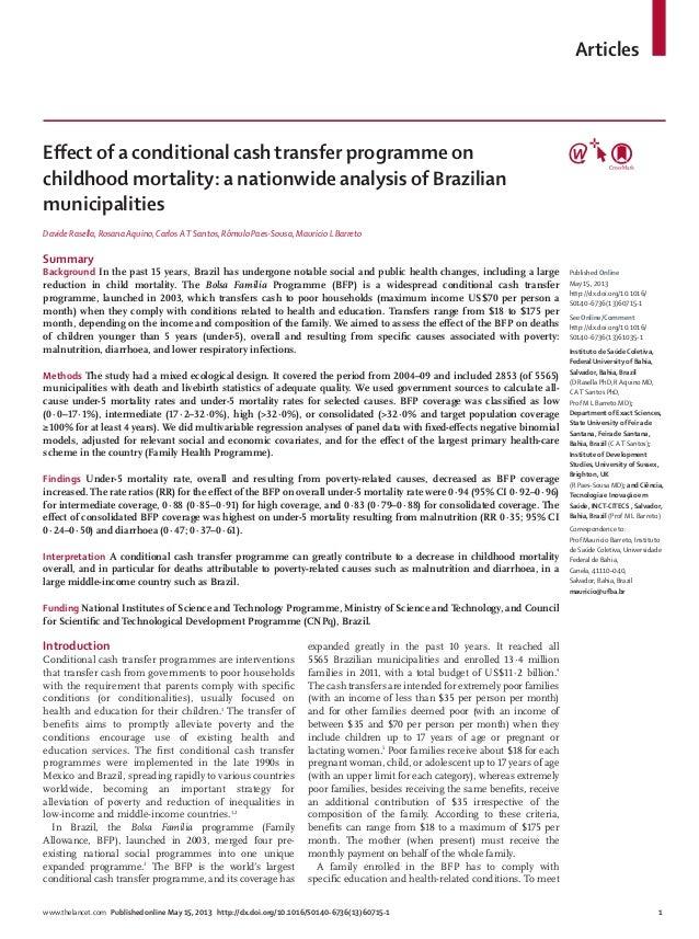 Effect of a conditional cash transfer programme on childhood mortality: a nationwide analysis of Brazilian municipalities
