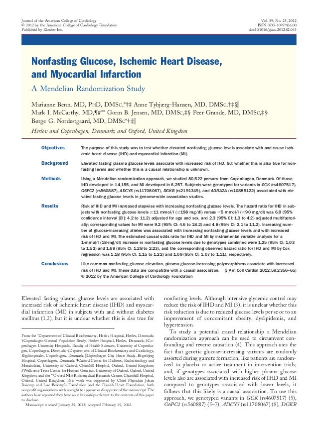 Nonfasting Glucose, Ischemic Heart Disease, and Myocardial Infarction A Mendelian Randomization Study Marianne Benn, MD, P...