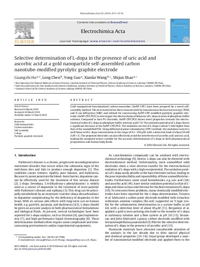 elective determination of L-dopa in the presence of uric acid and ascorbic acid at a gold nanoparticle self-assembled carbon nanotube-modified pyrolytic graphite electrode