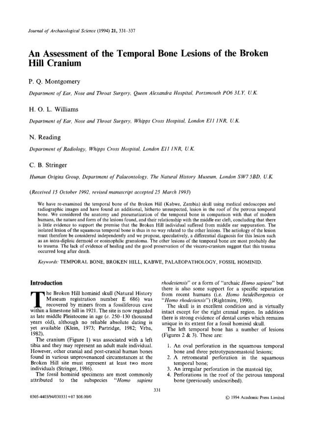An assessment of the temporal bone lesions of the Broken Hill cranium