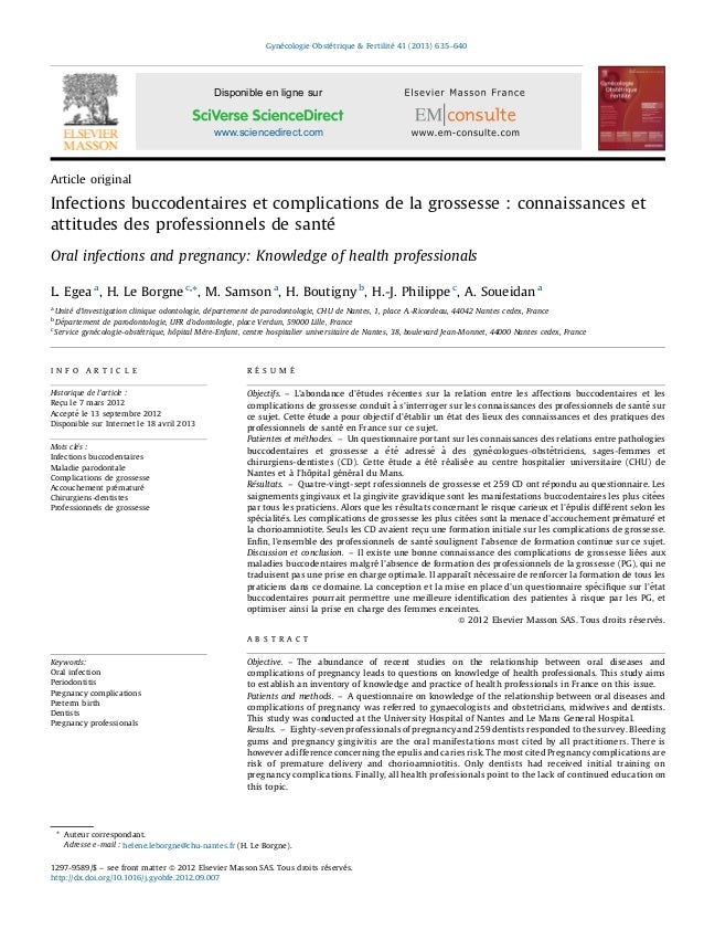 Article original Infections buccodentaires et complications de la grossesse : connaissances et attitudes des professionnel...