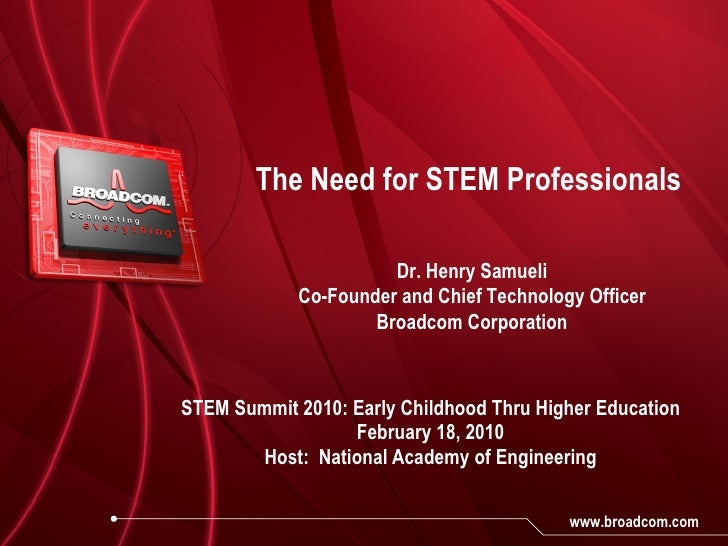 The Need for STEM Professionals STEM Summit 2010: Early Childhood Thru Higher Education February 18, 2010 Host:  National ...