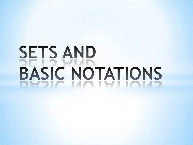 1. sets and basic notations