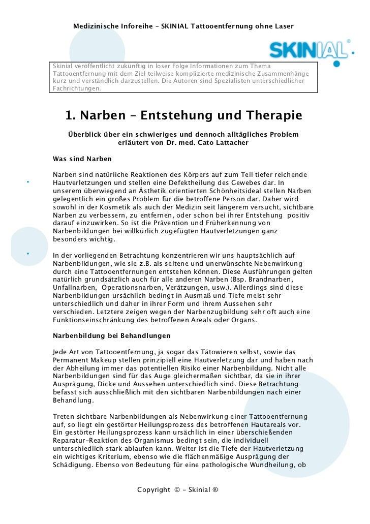 Medizinische Inforeihe – SKINIAL Tattooentfernung ohne LaserSkinial veröffentlicht zukünftig in loser Folge Informationen ...