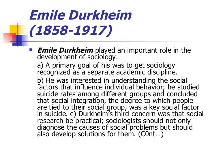 explore durkheims contribution to sociological theory essay