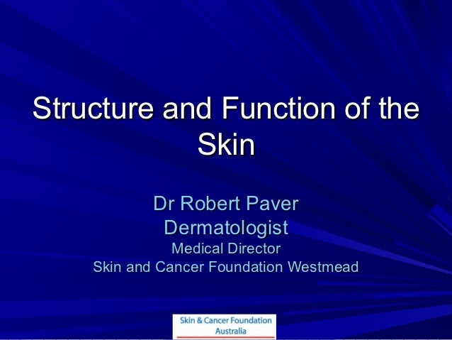 Structure and Function of the            Skin           Dr Robert Paver            Dermatologist               Medical Dir...
