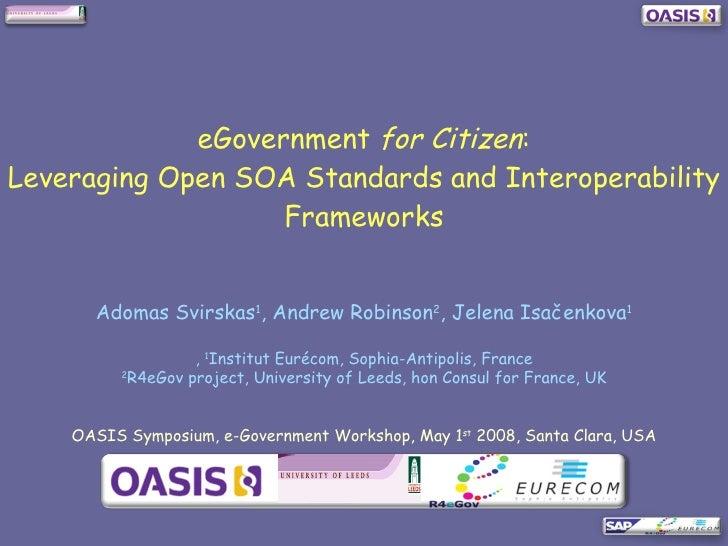 eGovernment for Citizen:  Leveraging Open SOA Standards and Interoperability Frameworks
