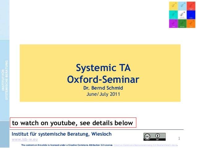 1 Institut für systemische Beratung, Wiesloch www.isb-w.eu Systemic TA Oxford-Seminar Dr. Bernd Schmid June/July 2011 The ...