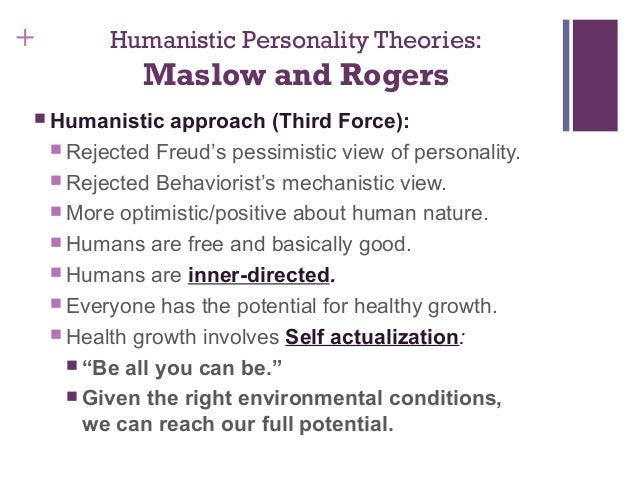 humanistic and existential personality theories View this essay on humanistic and existential personality theories worksheet abraham according to maslow self-fulfillment and realization of one's full potential.