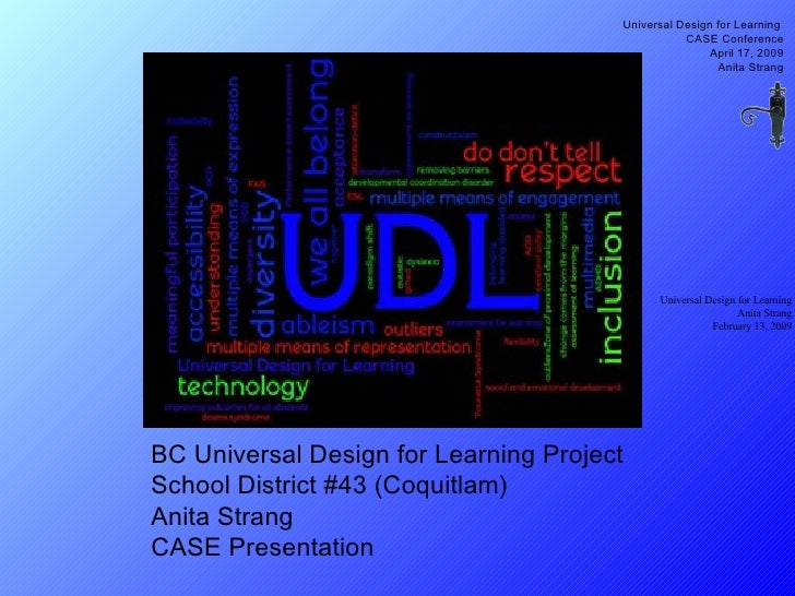 BC Universal Design for Learning Project School District #43 (Coquitlam) Anita Strang CASE Presentation Universal Design f...