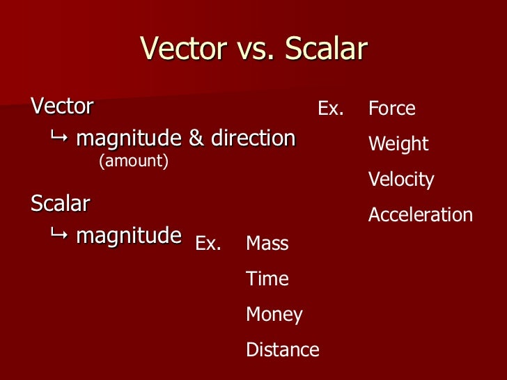 Vector vs. ScalarVector                   Ex.   Force  magnitude & direction       Weight      (amount)                  ...