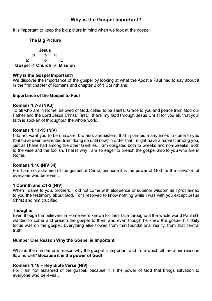1. Why is the Gospel Important? Notes (A4)