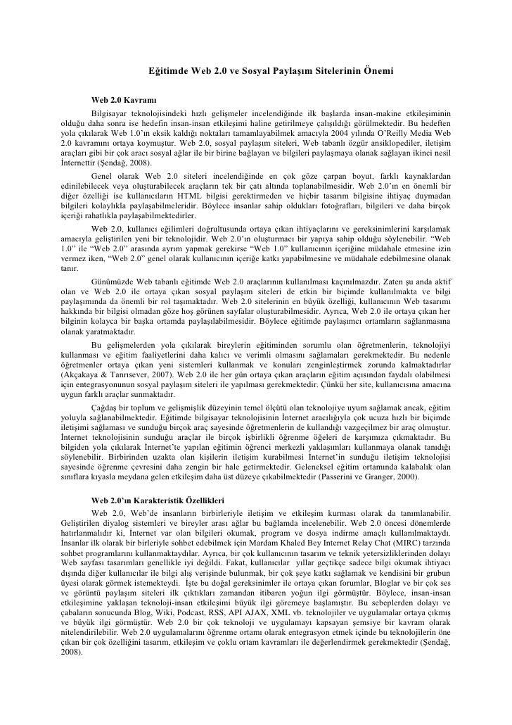 Eğitimde Web 2.0 ve Sosyal Paylaşım Sitelerinin Önemi         Web 2.0 Kavramı          Bilgisayar teknolojisindeki hızlı g...