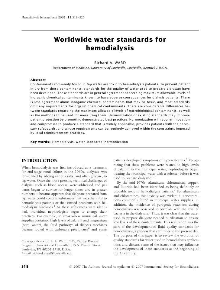 1  worlwide-water_standars_for_hemodialysis