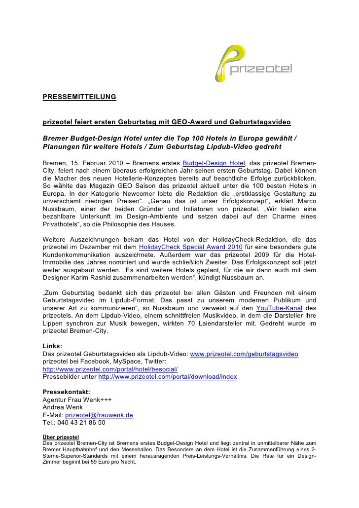 PRESSEMITTEILUNG   prizeotel feiert ersten Geburtstag mit GEO-Award und Geburtstagsvideo  Bremer Budget-Design Hotel unter...