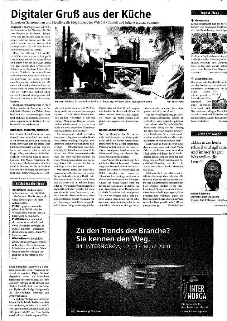 Digitaler Gruß aus der Küche (AHGZ Ausgabe 2010/09)