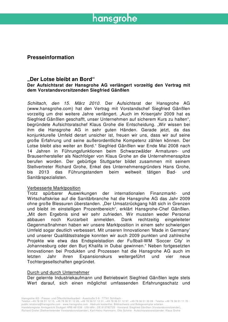 """Presseinformation    """"Der Lotse bleibt an Bord""""    Der Aufsichtsrat der Hansgrohe AG verlängert vorzeitig den Vertrag mit ..."""