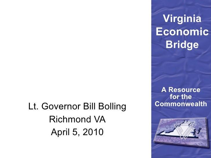 Lt. Governor Bill Bolling Richmond VA April 5, 2010