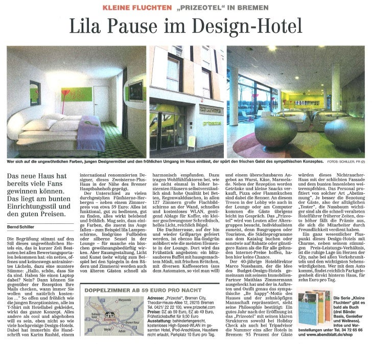 Lila Pause im Design-Hotel (Hamburger Abendblatt 14.04.10)
