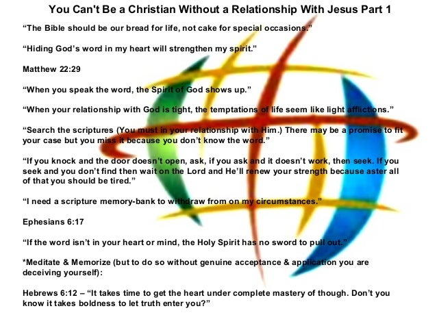 """You Cant Be a Christian Without a Relationship With Jesus Part 1""""The Bible should be our bread for life, not cake for spec..."""