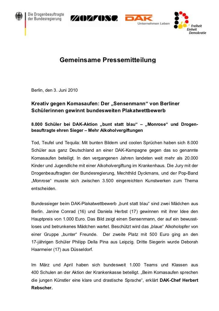 """Gemeinsame PressemitteilungBerlin, den 3. Juni 2010Kreativ gegen Komasaufen: Der """"Sensenmann"""" von BerlinerSchülerinnen gew..."""