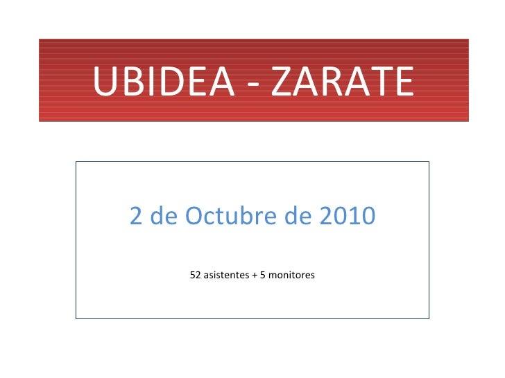 UBIDEA - ZARATE 2 de Octubre de 2010 52 asistentes + 5 monitores