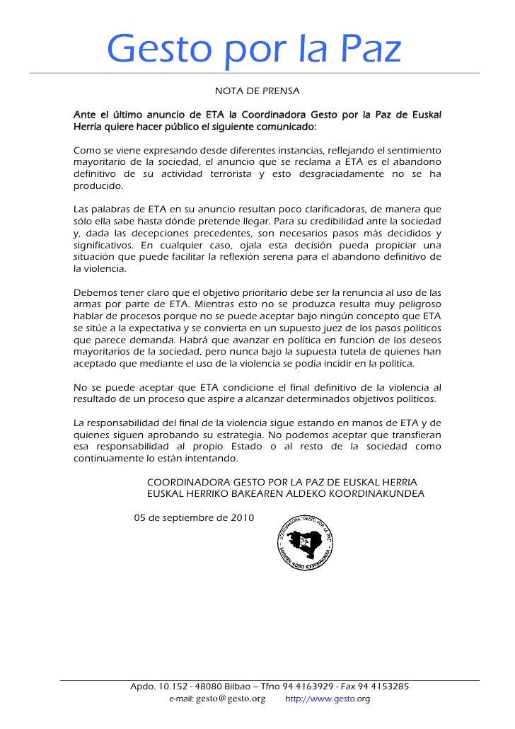 Gesto por la Paz                                NOTA DE PRENSA  Ante el último anuncio de ETA la Coordinadora Gesto por la...